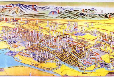 昭和8年(1933)牧生騏画「大尼崎鳥瞰図」(尼崎市立地域研究史料館所蔵)